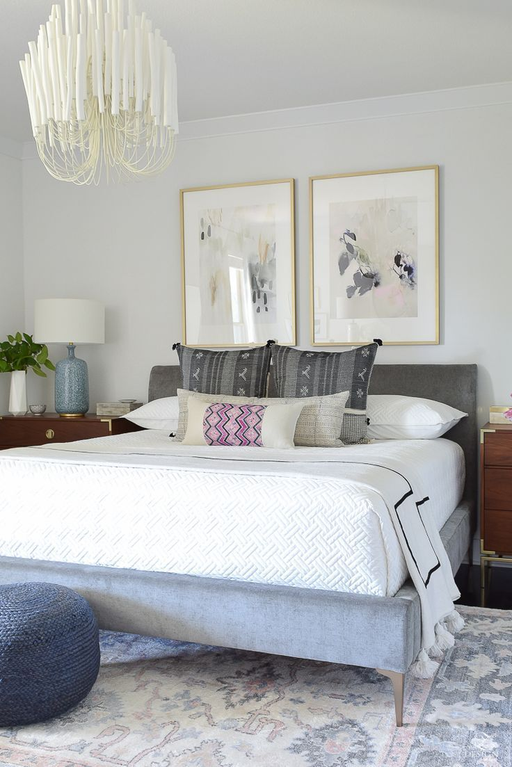 Boho Glam Master Bedroom Reveal With Tilda Chandelier And Gray Upholstered Bed Upholstered Beds Grey Upholstered Bed Queen Upholstered Bed