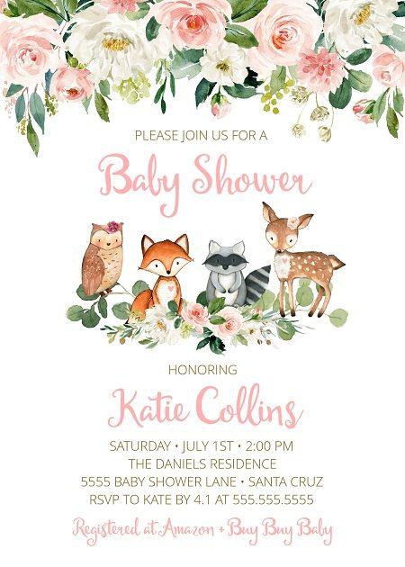 Woodland Baby Shower Invitation Girl Instant Download Kit