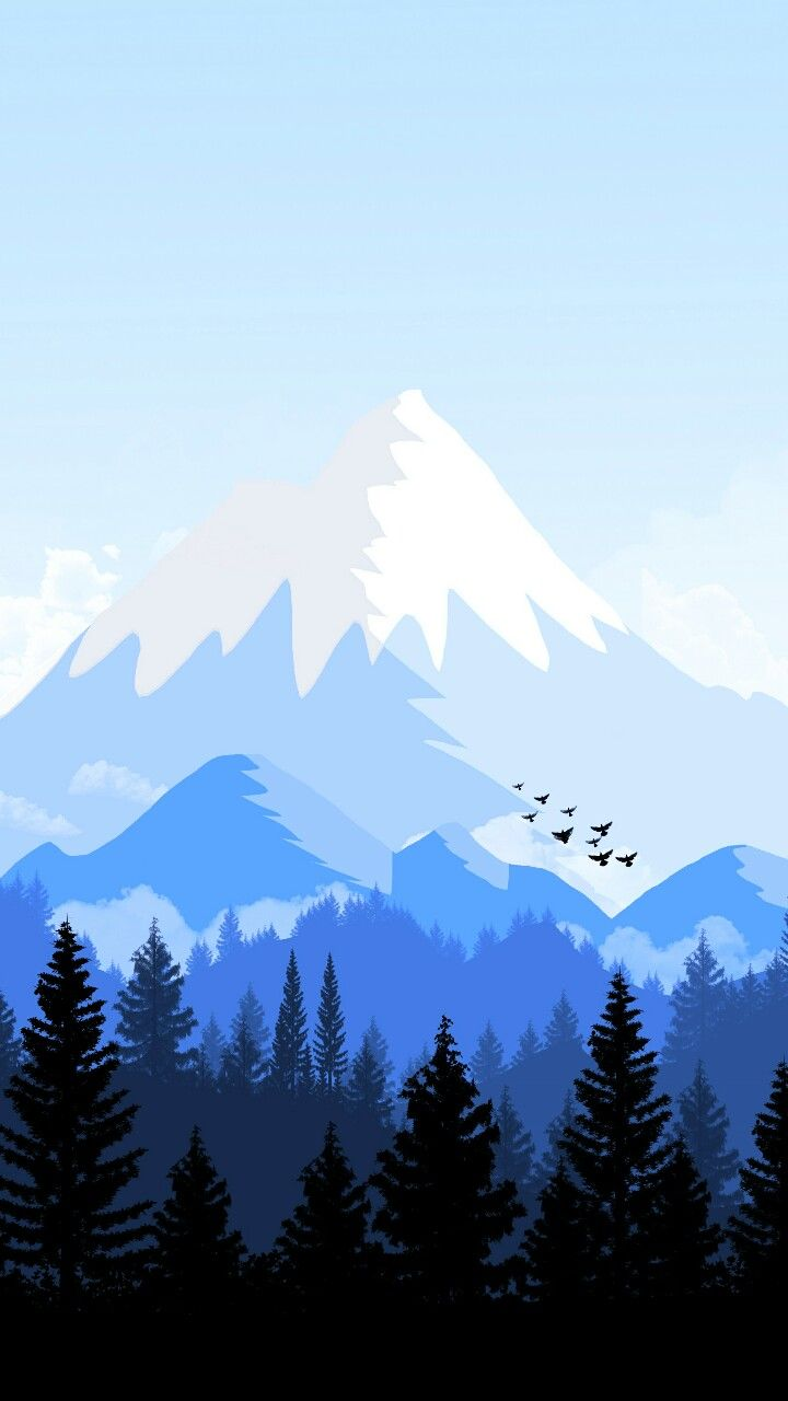 mountain tops art and trees in valley