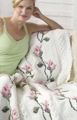 Rosebud Throw Crochet Pattern by Red Heart - only dreaming of making such beauty. I bet it'll take loads of time...