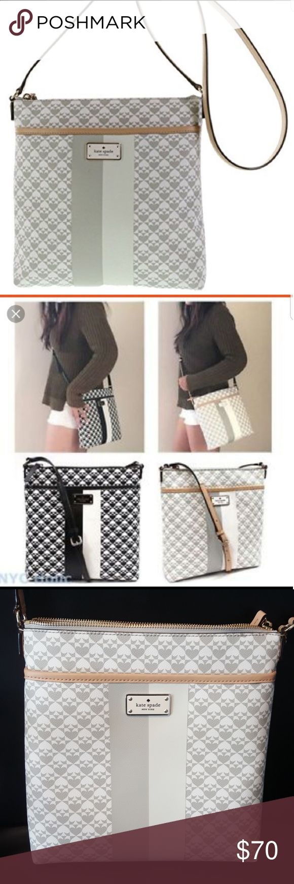 "KATE SPADE ""Keisha"" Crossbody Purse This crossbody purse is by KATE SPADE, Style is Keisha. Measure approx 11"" x 11"". Gray and white. Excellent condition, used 1 time. My loss, your gain! kate spade Bags Crossbody Bags"