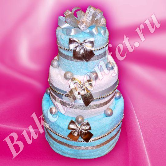 Торт из полотенец  Состав: 4 полотенца 100*150 см, 70*140 см, 50*90см (2 шт.).  Высота: 39 см.  В упаковке - 69 см.  Цена: 1 700 руб.