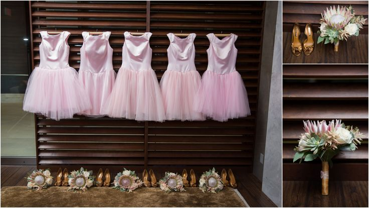 The bridesmaid's dresses