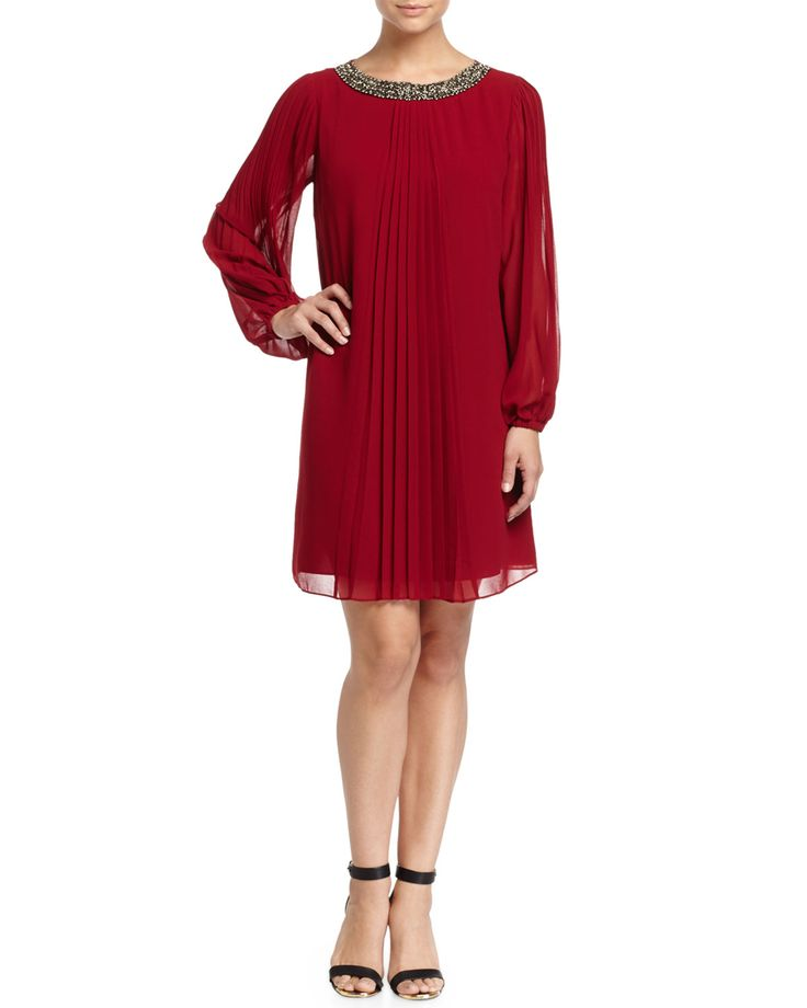 Marc New York by Andrew Marc Pleated Chiffon Long-Sleeve Dress, Cabernet
