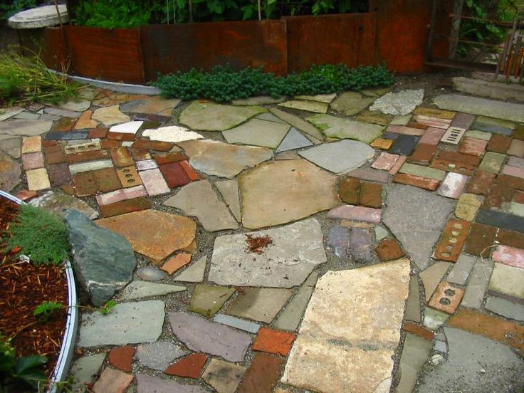17 best images about my broken concrete yard on pinterest for Mixing brick and stone