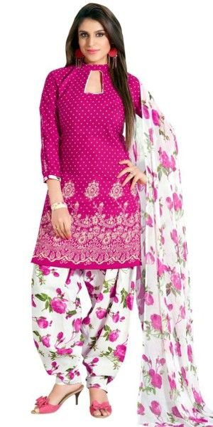 Youthful Pink Cotton Patiala Suit With Dupatta.