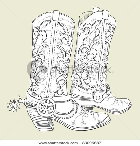 Western Boots Coloring Page   Introducing Offset.com new Start Downloading Sign In