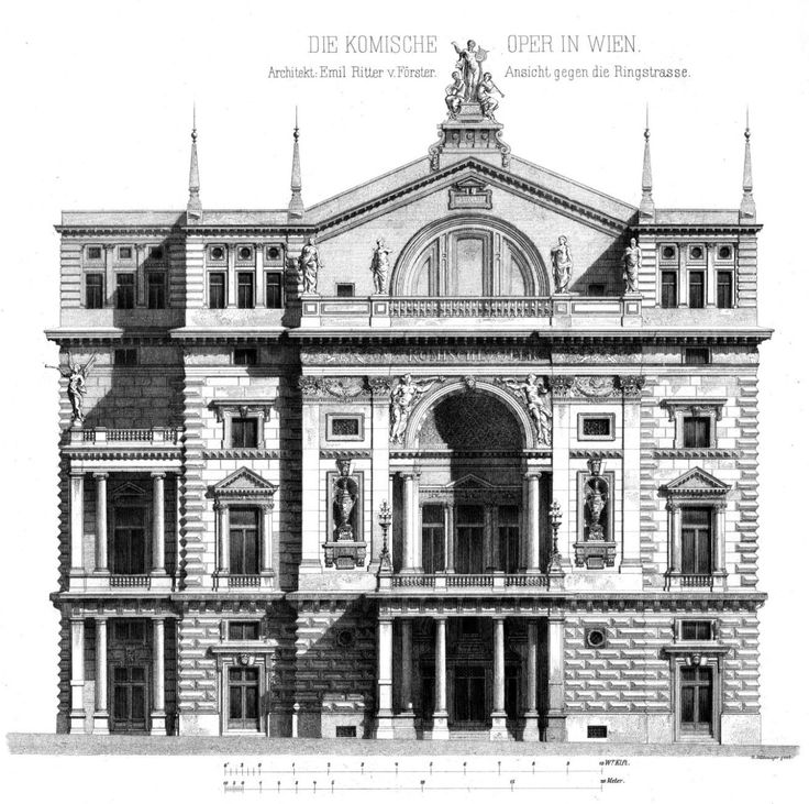 Elevation of the Komische Oper, Vienna