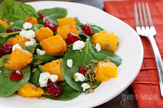 Baby Spinach Salad with Honey Roasted Butternut Squash, Pumpkin Seeds, Gorgonzola and Dried Cherries   Skinnytaste: Olive Oil, Tasty Recipe, Gorgonzola, Dry Cherries, Honey Roasted, Baby Spinach Salad, Spinach Salads, Roasted Butternut Squashes, Pumpkin Seeds