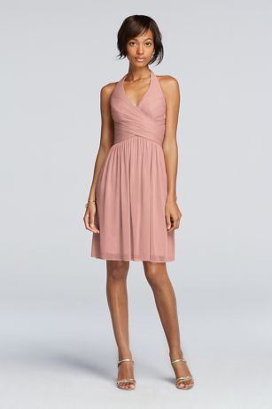 This short mesh bridesmaid dress with a halter neckline is equal parts chic and easygoing.   Featuring a V-neck and halter straps.  Pleated bodice accentuates the waist.  Fully lined. Back zipper. Imported. Dry clean only.