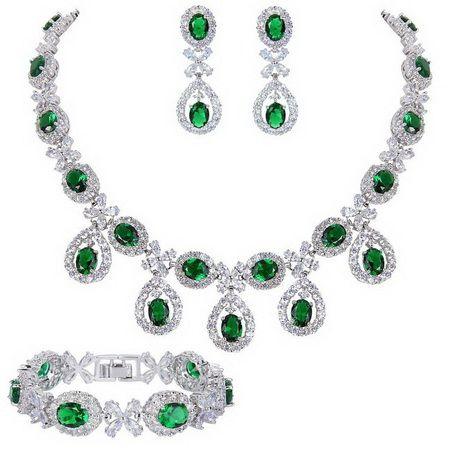 Изумрудное зеленое ожерелье и серьги