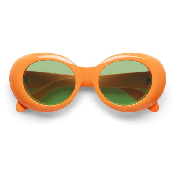 Mustang orange/green ❤ liked on Polyvore featuring accessories, eyewear, sunglasses, glasses, acne, green lens glasses, green glasses, oval glasses, orange glasses and uv protection sunglasses