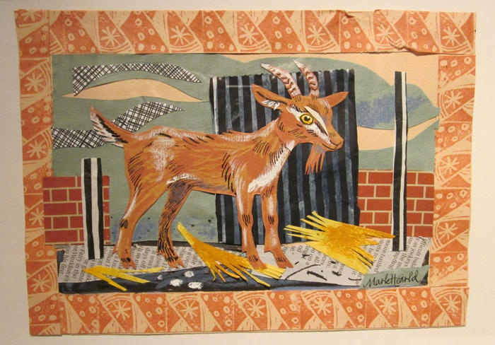 Young Goat, Collage by Mark Hearld - British Artist, was born in York in 1974. He studied Illustration at Glasgow School of Art from 1994-97 and went on to the Royal College of Art to study for an MA in Natural History Illustration. Taking his inspiration from the flora and fauna of the British countryside, Mark works across a number of mediums, producing limited edition lithographic and linocut prints, unique paintings, collages and hand-painted ceramics.