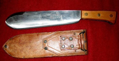 Bolo knife, USMC, 1945. WW II, Hospital Corpsman. The hefty bolo machete is popular in Southeastern Asia where it is a commonly used as a farming and agricultural tool. The bolo machete excels as a harvesting tool for narrow row crops, such as rice, soybeans, peanuts and mung beans due to the distinctive bulge, adding a heft to the fore-blade that provides additional chopping power. Sharp 1 1/4 sides.