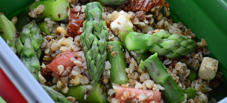 Buckwheat groats with asparagus, feta cheese, sun-dried tomatoes and pine nuts
