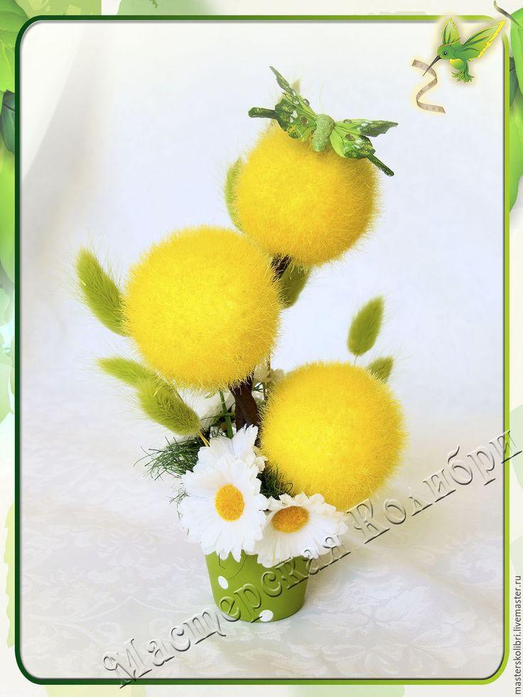 """Купить """"СОЛНЕЧНЫЕ ДЕНЬКИ"""" №3 Интерьерная композиция, топиарий. - желтый, зеленый, белый, солнечный, ромашки"""