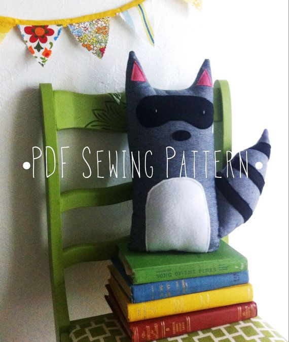 PDF Sewing Pattern Raccoon Stuffed Animal by HenAndChick on Etsy