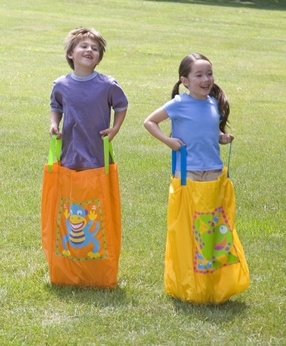 Hop to the finish line with these adorable sack racing critters! #play #kids
