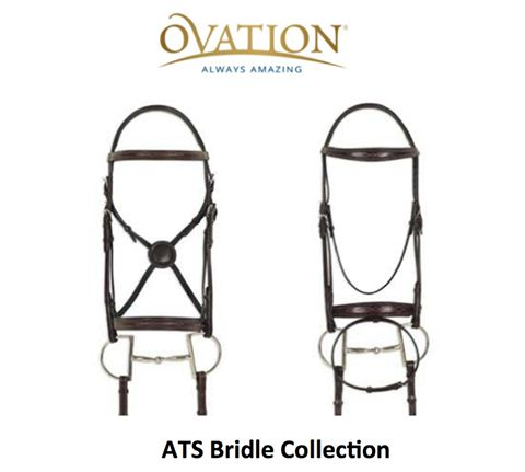 NEW for spring! The Ovation Riding ATS Bridle Collection features 7 different styles of bridle and a 5-Point Breastplate providing the ultimate in comfort for your horse. The shaped top plate of the crown allows the ears to freely move, reducing the pressure, which eases muscle and nerve tension, while a thin layer of foam provides shock absorption. All pieces are crafted from hand-finished, full grain, vegetable tanned leather with a lustrous classic finish. Two bridles in the collection…