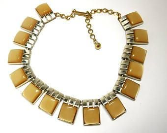 Caramel Moonglow Necklace 50s 60s Art Deco Modern fashion