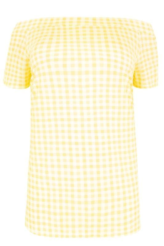 LIMITED COLLECTION White & Lemon Gingham Print Bardot Top With Tie Back