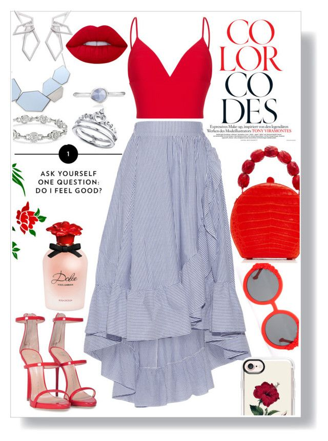 """blue &red"" by xkitten-pokerx ❤ liked on Polyvore featuring Preen, Nancy Gonzalez, Maje, Giuseppe Zanotti, Rasario, Casetify, W. Britt, Lime Crime, Monica Vinader and Unwritten"