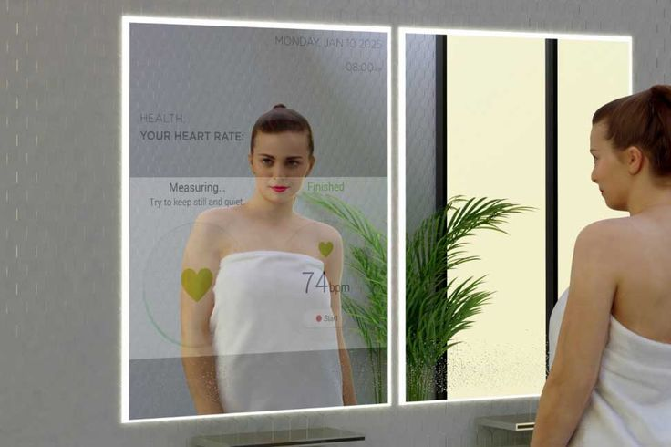 """""""Active skin"""" olarak tabir edilen özelliğe sahip """"akıllı aynalar"""", bahsedilen bu teknolojilerin hızla geliştirelebileceğinin işareti olarak, günümüzde de mevcut. Belki de akıllı banyolar, futurologistlerin söylediğinden daha erken tarihlerde hayatımıza girebilirler."""