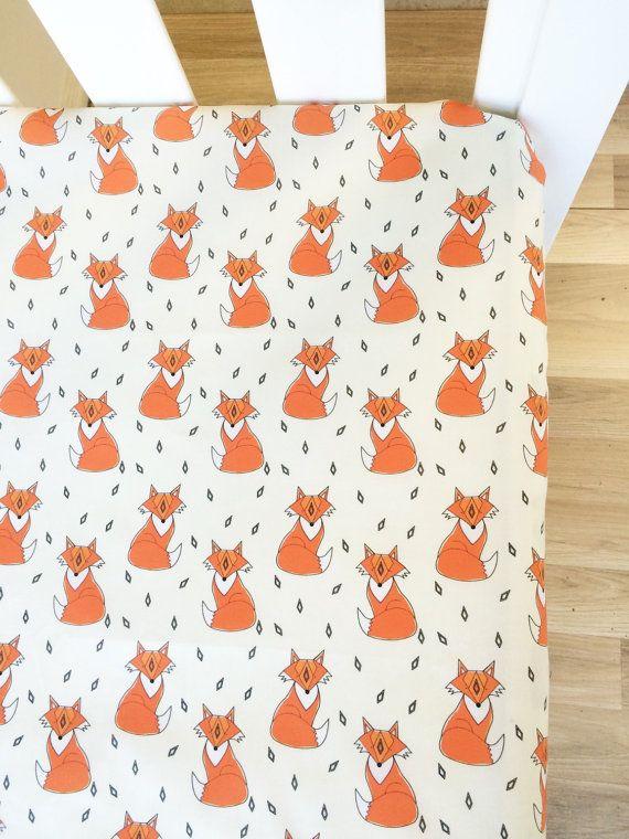 Fabulous orange fox  modern Fitted Cot Sheet by ElskeLittleStyle