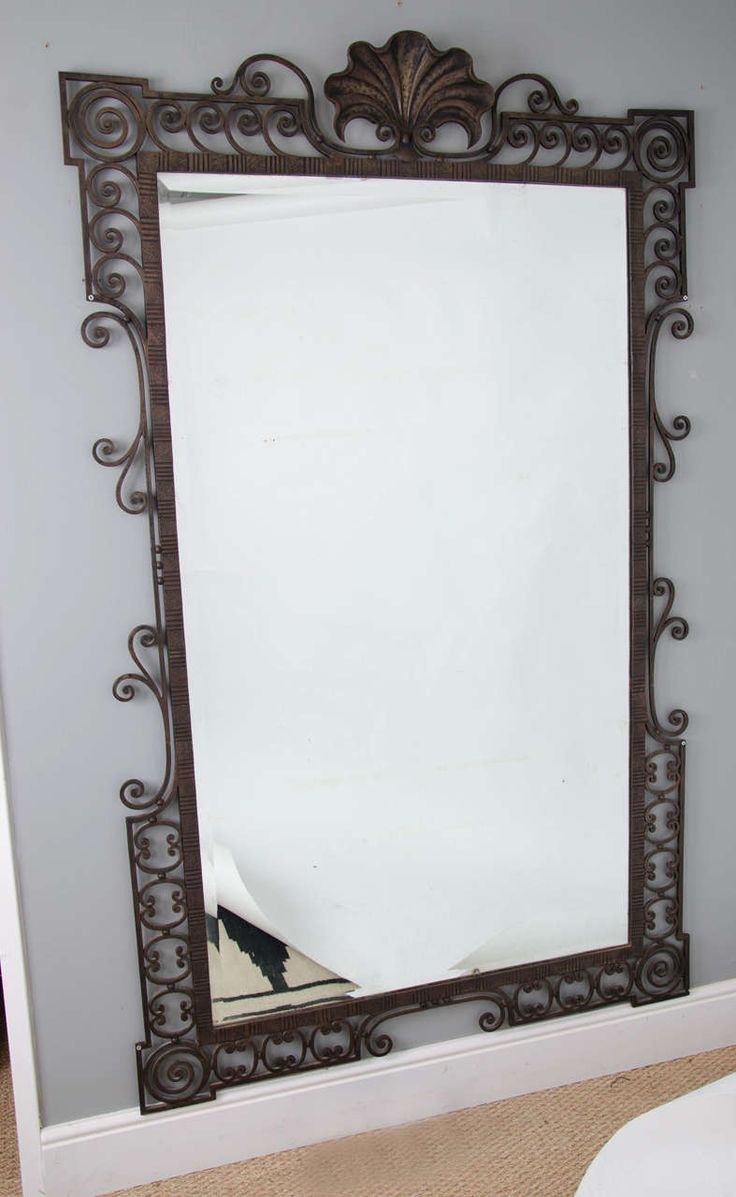 Bedroom with lamp white wall mirror ramos solid wood dining table - Large 1940 S French Wrought Iron Mirror