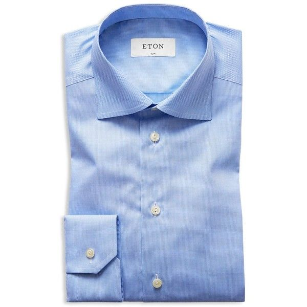 Eton of Sweden Micro Houndstooth Slim Fit Dress Shirt ($275) ❤ liked on Polyvore featuring men's fashion, men's clothing, men's shirts, men's dress shirts, light blue, mens slim shirts, mens print shirts, mens slim fit dress shirts, men's patterned dress shirts and eton mens shirts