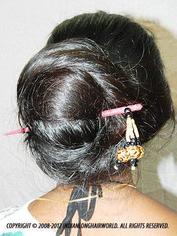 Long Hair Model of the Month September 2012. Swati with her long, thick thigh length hair in Khopa ( bengali style Traditional hair bun )
