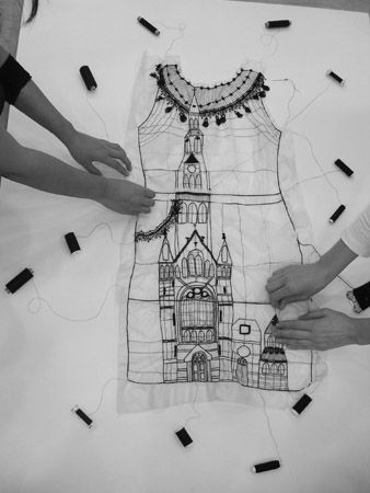 """Drawing with Stitch - dress outline with embroidered architecture - textile art // """"Story Sewing,"""" Miss Blackbirdy"""