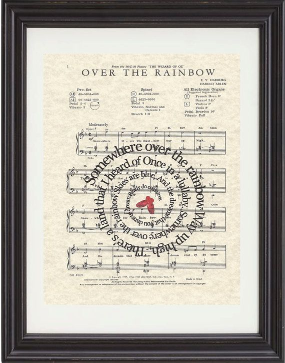 Somewhere Over The Rainbow, Art Print,Wizard Of OZ, Movie Art, Sheet Music, Spiral Song Lyrics, Classic Illustrations, Nursery, Child Room on Etsy, $15.00