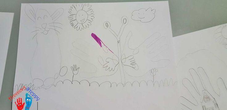 """Farfalla e Coniglio con l'Impronta di Mano e Piede. Tracciare e Trasformare le proprie Impronte, completando con alcuni tratti di Disegno Libero. Uno """"strumento"""" artistico per i Bambini sempre a portata di """"Mano""""."""