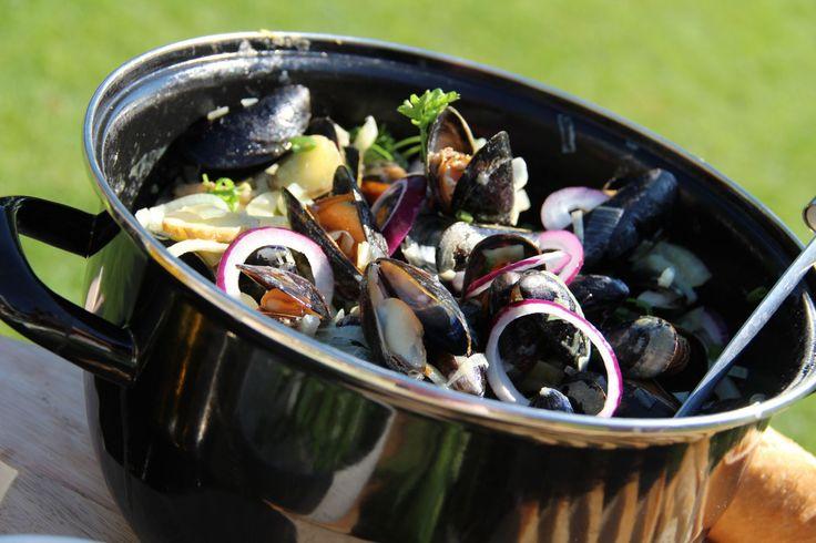 Mosselen gekookt in Pernod met room - Recept: http://www.koffietijd.nl/recepten/mosselen-gekookt-in-pernod-met-room/