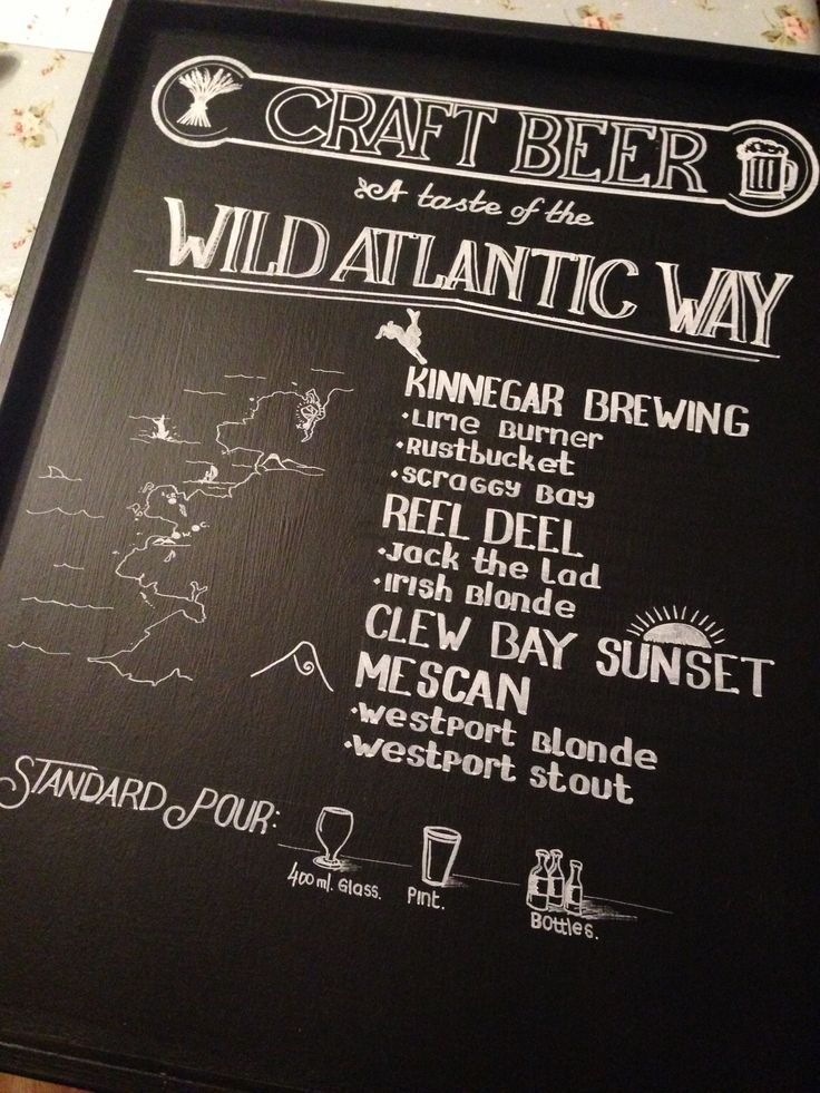 A list of Irish west Craft beers. White marker on the chalk board. Gastro pub / Public house and Eatery.
