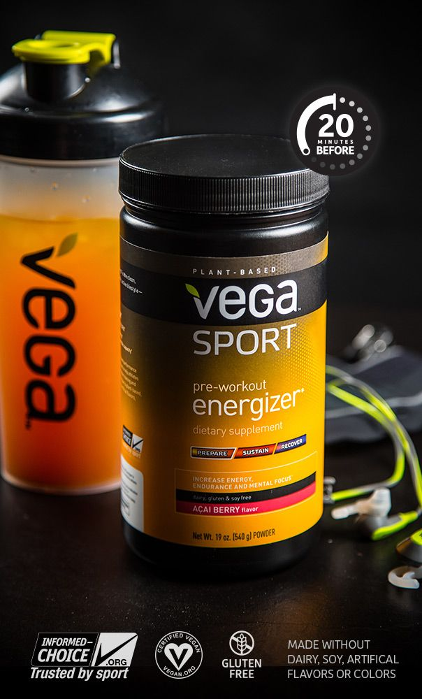 Vega Sport Pre-Workout Energizer is a pre-workout drink mix that provides immediate and sustained energy. Sporting a unique blend of 12 synergistic plant-based performance-improving ingredients, like green tea, yerba maté, coconut oil and rhodiola, specifically selected to: Increase endurance, aerobic and anaerobic capacity, enhance mental focus and take your workout to the next level.