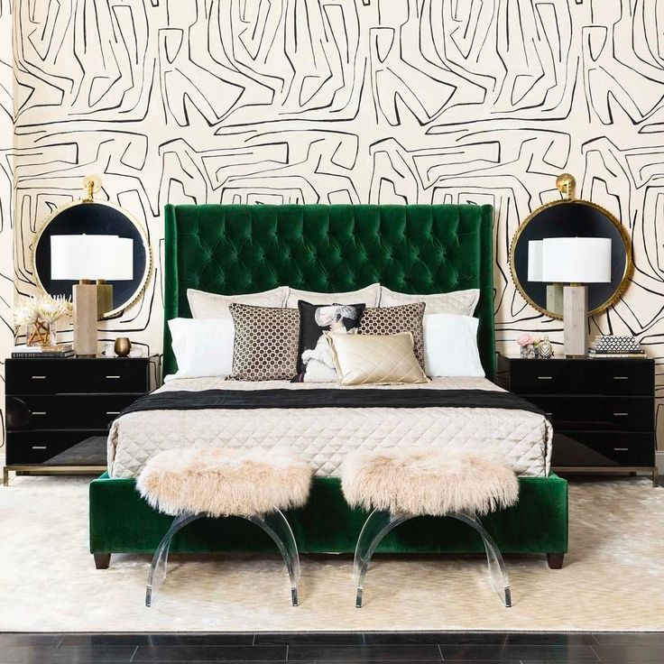 "1,336 Likes, 28 Comments - High Fashion Home (@highfashionhome) on Instagram: """"Give me songs to sing and emerald dreams to dream..."" - Jim Morrison. Our Amelia Bed in Vance…"""
