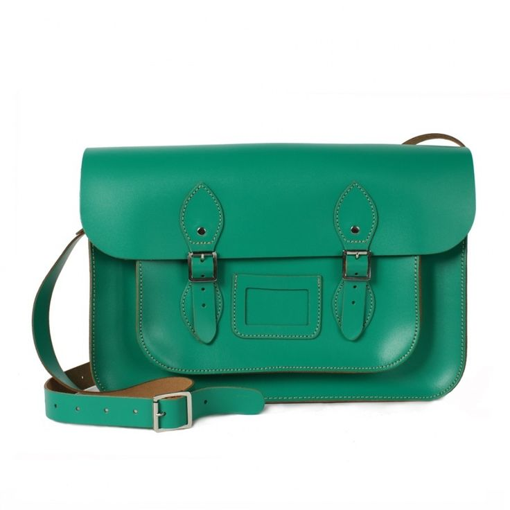 "This beautiful and classic Absinthe 14"" leather satchel works perfectly as a hand bag, everyday use bag, or case for university as it fits an A4 folder or laptop.  Made from: 100% leather with adjustable strap.  Dimensions: W36 x H26 x D9 cm (14 x 10 x 3.5 inches).  Available from www.bohemianliving.com.au"