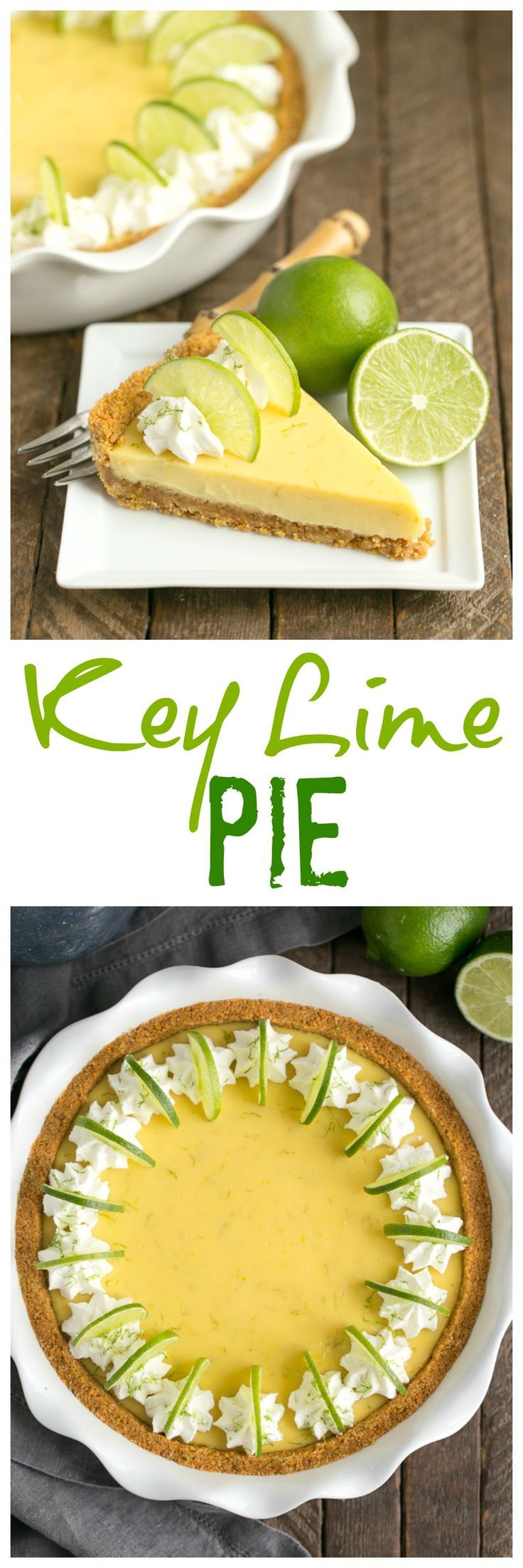Key Lime Pie with Graham Cracker Crust   A classic recipe with a zesty punch of citrus! @lizzydo