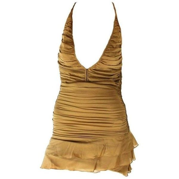 Preowned Famous Gucci Tom Ford Spring 2003 Ruched Silk Dress ($2,499) ❤ liked on Polyvore featuring dresses, brown, mini dress, silk dress, draped dress, short ruched dress, silk mini dress and brown silk dress