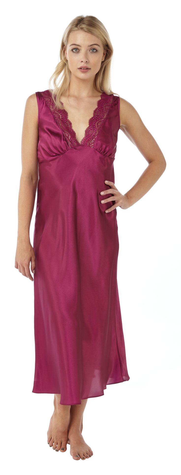 Full length long pink purple plain satin nightdress plus