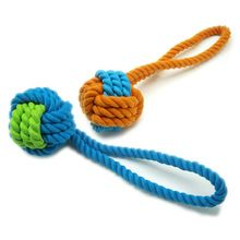 Pet Dogs Chew Toys - High Quality Rubber Clean Teeth Cotton Rope Ball for Puppies Bite Molar Teeth Traning juguetes para perros(China (Mainland))