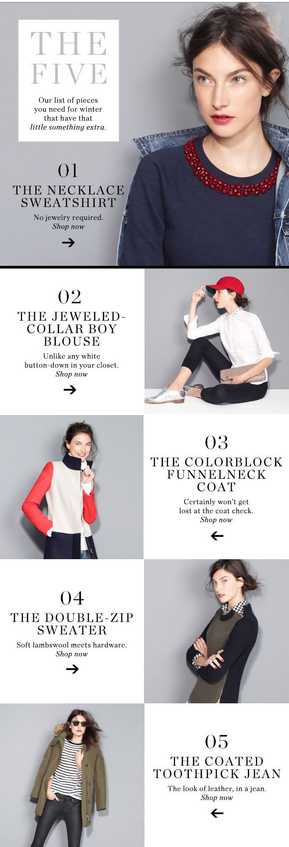 Another bit of newsletter listicle inspiration  JCrew - alternating pattern keeps the eye moving