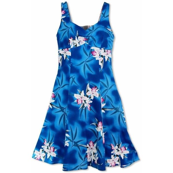 Poipu Blue Molokini Hawaiian Dress ($60) ❤ liked on Polyvore featuring dresses, blue hawaiian dress, zip back dress, hawaiian sundress, hawaiian sun dress and hawaiian dress