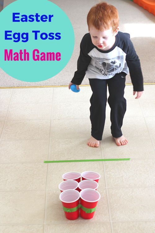 This Easter egg toss math game is a great way to practice addition with young kids and preschoolers. A fun movement activity for Easter!