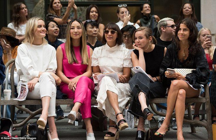 Star-studded: (L-R) Taylor Schilling, Greta Lee, Rashida Jones, Morgan Saylor and Leandra Medine attend the Rachel Comey fashion show during New York Fashion Week