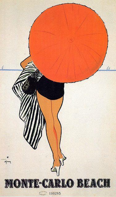 Monte Carlo Beach - Rene Gruau vintage travel poster.