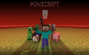 Preview wallpaper minecraft, mobs, creeper, snake, zombie, chicken, pig, man, pixels