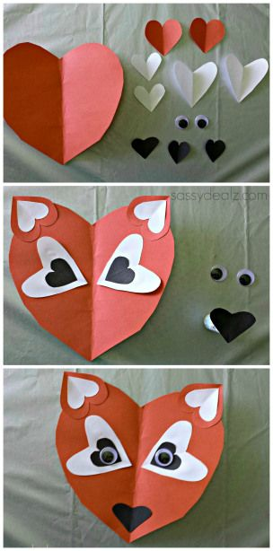 pons of knip een paar harten en maak een vos List of Easy Valentine's Day Crafts for Kids - Sassy Dealz